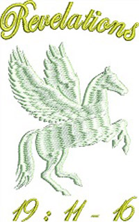 Revelations 19-11 White Horse Embroidery Design