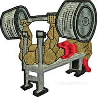 Weight Training-Weight training machine embroidery, weights embroidery, exercise embroidery, gym embroidery, body building embroidery, machine embroidery, sports embroidery, power embroidery