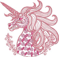 Two Toned Unicorn-machine embroidery, unicorn embroidery, embroidery designs, animal embroidery, fantasy embroidery