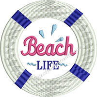 Beach Life Raft-Life raft, machine embroidery, beach, raft, life saver