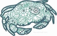 Blue Crab-Crab embroidery, Blue crab embroidery, elegant crab designs, machine embroidery, crab machine embroidery, sea life embroidery, stitchedinfaith.com