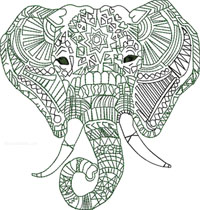 Calligraphy Elephant-Elephant embroidery, Calligraphy Elephant, Machine embroidery designs, Elephants, jungle animals embroidery, large animal embroidery, Stitchedinfaith.com