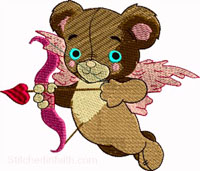 Cupid Bear-Cupid embroidery, Bear embroidery, Valentines Embroidery, machine embroidery, embroidery, Cupid, Bears