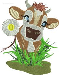 Daisy Cow-Cow embroidery, farm embroidery, machine embroidery, cows, embroidery, stitchedinfaith.com