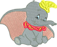 Dumbo-Dumbo, elephants, machine embroidery, dumbo embroidery