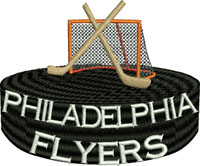 Flyers goal post-Flyers embroidery, goal post embroidery, machine embroidery, Phila Flyers, Philadelphia Flyers, Phila embroidery, Hockey embroidery