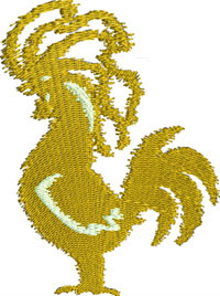Golden Chicken-Golden Chicken embroidery, machine embroidery, farm embroidery, chicken embroidery, kitchen embroidery, animal embroidery, stitchedinfaith.com