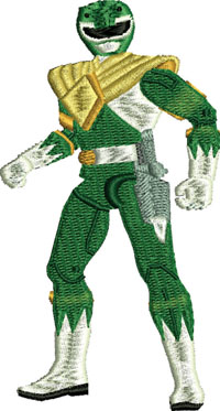 Green Power Ranger-Power Ranger, Green Ranger, toys, machine embroidery, embroidery designs