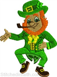 Happy Leprechaun-Leprechaun embroidery, Irish embroidery, machine embroidery, Holiday embroidery, St Pats day embroidery, St. Patricks embroidery,