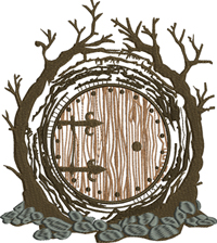 Hobbit home-Hobbit, lotr, machine embroidery, tree house,