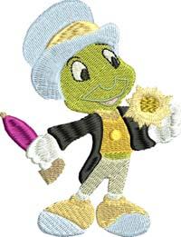 Jimimy Cricket-Jimimy Cricket, Pinnocchio, cricket, machine embroidery, Jimimy Cricket embroidery