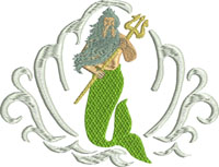 King Triton-King Triton, machine embroidery, mermaid, king, movies