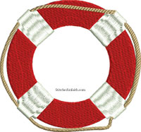 Life Raft-Life raft, raft embroidery, machine embroidery, summer embroidery, boat embroidery, nautical embroidery