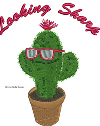 Looking Sharp-Cactus, cute, plant, machine embroidery, embroidery, plants, flowers