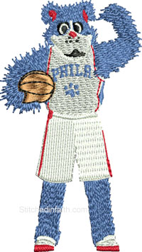 Ralph Mascot-Ralph mascot, basketball mascot, mascot embroidery, 76 ers embroidery, machine embroidery, sports embroidery, stitchedinfaith.com
