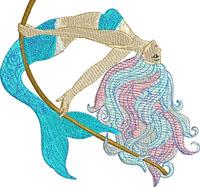 Mermaid at Sea-Machine embroidery, Mermaid embroidery, Pretty Mermaid, Swimming Mermaid