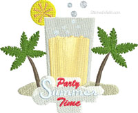 Party Summer Time-machine embroidery, Summer, Party, beach, fun, embroidery, drinks, palm trees, lemons