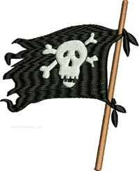 Pirate Flag-Pirate, Flag, machine embroidery, Pirate embroidery, Pirates, embroidery