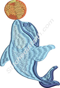 Playful Dolphin-machine embroidery, Dolphins, Dolphin, fish, marine life
