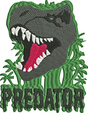 Predator-Dinosaur embroidery, machine embroidery, Predator, animal embroidery, prehistoric dinosaurs, fantasy, embroidery