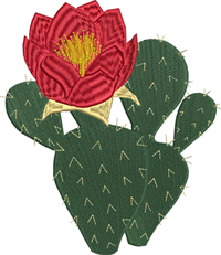 Prickly Pear Cactus-Cactus, Cactus embroidery, machine embroidery, plants embroidery, flower embroidery