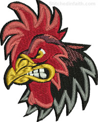 Rooster Head-Rooster embroidery, chicken embroidery, machine embroidery, stitchedinfaith.com, Roosters,