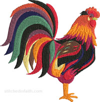 Rooster of many colors-Rooster embroidery, Rooster machine embroidery, farm animals embroidery, farm animals, chicken embroidery, machine embroidery, stitchedinfaith.com