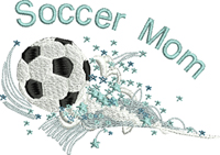 Soccer Mom in Stars-Socce,r soccer mom, machine embroidery, embroidery, soccer pride, sports sports, embroidery