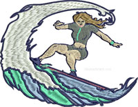 Surfer Girl-Surfer girl embroidery, Surfer embroidery, Surfing embroidery, water sports embroidery, summer sports embroidery, sports embroidery, surf embroidery, stitchedinfaith.com