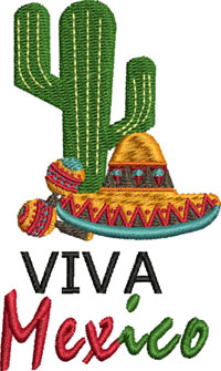 Viva Mexico-Viva Mexico, Mexico, cactus, machine embroidery, embroidery