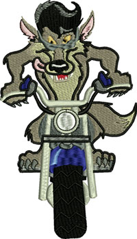 Wolf Rider-Wolf, motorcycle, animal embroidery, vehicle embroidery, biker