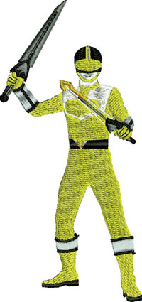 Yellow Power Ranger-Yellow Power Ranger, Power Rangers, machine embroidery, Power Rangers embroidery