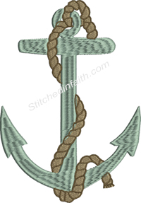 Anchor and Rope-Anchor embroidery, machine embroidery, anchor and rope, nautical, nautical embroidery, boating