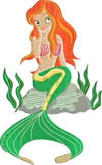 Mermaid Beached-Mermaid, machine embroidery, beach, embroidery