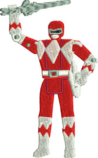 Red Power Ranger-Ranger, power, characters, toys, machine embroidery, embroidery, Power ranger embroidery