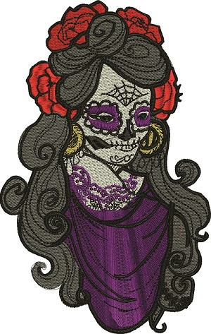 Skeleton Beautiful Lady-machine embroidery skeleton lady skeleton skeleton horror embroidery