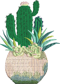 Cactus Potted Flowers-Cactus, potted flowers, machine embroidery, embroidery
