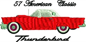 57 Thunderbird American Classic Car-MACHINE EMBROIDERY EMBROIDERY PATTERNS THUNDERBIRD CAR 1957 THUNDERBIRD