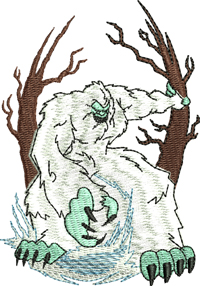 Abominable Snowman-Abominable Snowman, machine embroidery, myth embroidery, Legends embroidery, snowman. embroidery