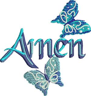 Amen-Amen, Christian, butterflies, Jewish, Religion, machine embroidery