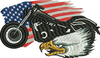 American Biker-Motorcycle embroidery, motorcycle, machine embroidery, biker embroidery, embroidery, biker, American biker
