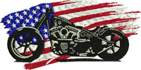 American Cycle-Motorcycle, motorcycle embroidery, machine embroidery, biker embroidery, American cycle, vehicle embroidery