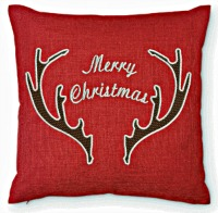 Merry Christmas Antlers Embroidered Pillow