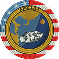 Apollo 1-Apollo 1, space ship, badge, machine embroidery,