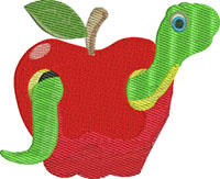 Apple Worm-Apple Worm, machine embroidery, Apple, fruit, fruit embroidery, Apple worm embroidery, stitchedinfaith.com