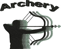 Archery Shadow-Archery, bow and arrow, machine embroidery, sports embroidery, sports, Bow, arrow,