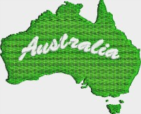 Australia Country-Australia Australia Country Australia map machine embroidery stitchedinfaith.com