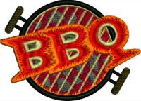 BBQ-BBQ embroidery, barbecue, machine embroidery, embroidery, food embroidery