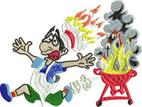 Barbecue Fire-Barbecue embroidery, machine embroidery, picnic embroidery, kitchen embroidery, cooking embroidery