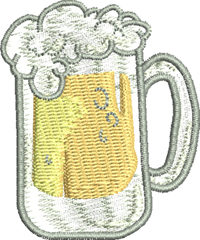 Beer Mug-Beer Mug, Beer embroidery, machine embroidery, Alcohol embroidery